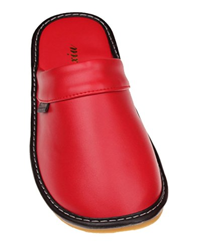 Cattior Femmes Solides Pantoufles En Cuir Confortable Maison Pantoufles Rouge