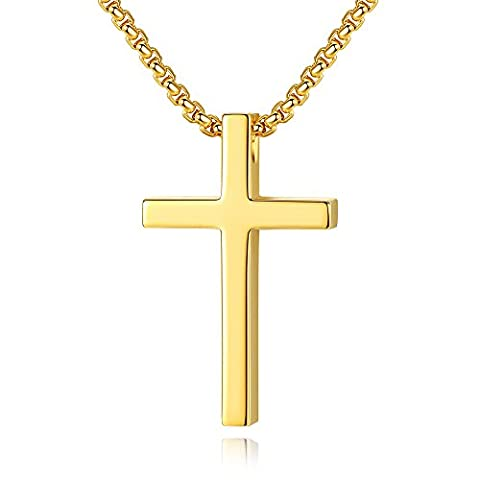 Reve Simple Stainless Steel Cross Pendant Chain Necklace for Men Women, 20''-22'' Link Chain (Gold:1.20.7'' Pendant+20'' Rolo (Gold Cross Necklace 20 Inch)