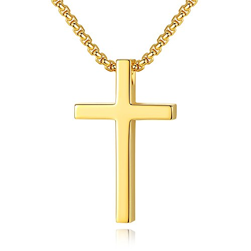 Reve Simple Stainless Steel Cross Pendant Chain Necklace for Men Women, 20''-22'' Link Chain (Gold:1.20.7'' Pendant+20'' Rolo Chain)