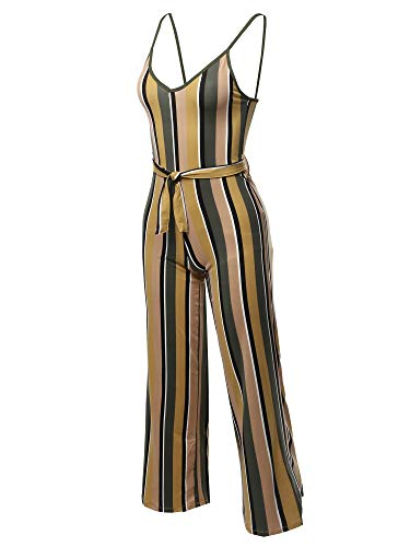 (Awesome21 Sleeveless Strap Printed Self Tied Sexy Romper Jumpsuit Olive Taupe L)