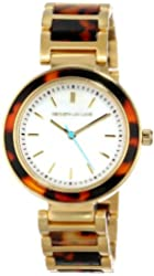Kenneth Jay Lane Women's KJLANE-2002  Mother-Of-Pearl Dial Gold Ion-Plated Stainless Steel and Brown Tortoise Resin Watch