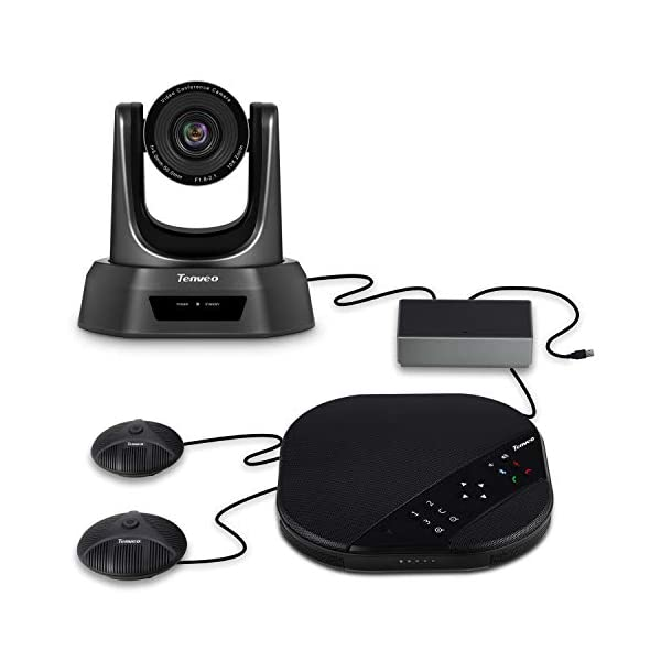 Tenveo Group All in One Video Conferencing System USB PTZ Conference Room Camera with 2pcs Expansion Mics 10X Zoom