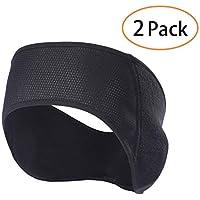 Qinglonglin Fleece Ear Warmers Headband - 2 Pack Winter Black Band Earmuffs Ski Mask for Men Women