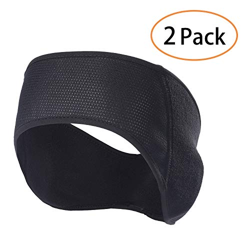 QINGLONGLIN Fleece Ear Warmers Headband - 2 Pack Winter Black Band Earmuffs Ski Mask for Men Women