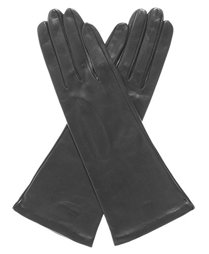 Fratelli Orsini Women's Italian ''4 Button Length'' Silk Lined Leather Gloves Size 8 1/2 Color Black by Fratelli Orsini