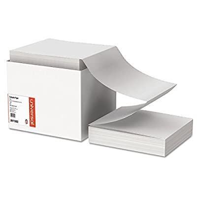 Universal 15802 Computer Paper, 20lb, 9-1/2 x 11, Letter Trim Perforations, White, 2400 Sheets