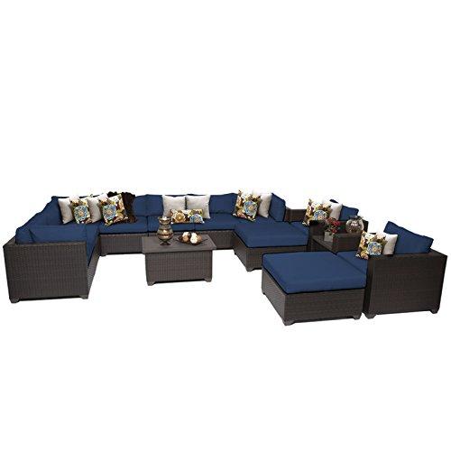TK Classics Belle 13 Piece Outdoor Wicker Patio Furniture Set, Navy