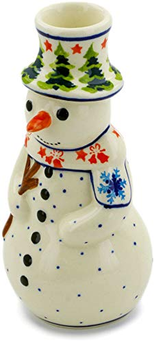 Polish Pottery Snowman - Polish Pottery 6½-inch Snowman Candle Holder (Winter Land Theme) + Certificate Authenticity