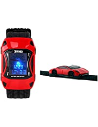 Kids Watches Boys Waterproof Sports Digital LED Wristwatches 7 Colors Flashing Car Shape Wrist Watches for Children,for Age 3-10 (Red)