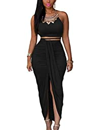 Dokotoo Womens Summer Sleeveless O-Neck Faux Suede Two Piece Maxi Skirt Set Large Black