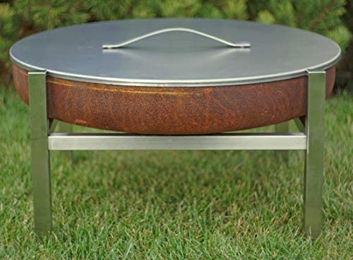 Fire Pit Cover Lid Medium Steel 24.8 Stainless Steel