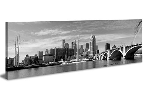 "LP LIFE ART-Wall Art City Canvas Prints Decor-Black and White Panoramic Cities-Minneapolis Canvas Wall Art-Modern Wall Decor/Home Decoration Stretched and Framed,Ready to Hang 14"" x48"