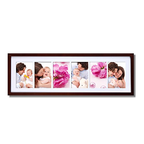 Adeco Walnut-Color, Wood Hanging Picture Frame with Mat, 6 Openings, 4x6 inches