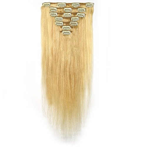 [Rosette Hair 18 Inch Straight Human Hair Weft Remy Virgin Hair Clip In Extensions Full Head Hair Extensions Weave Unprocessed Hair 7pcs/set (blonde) by Rosette] (Indian Costume No Sew)