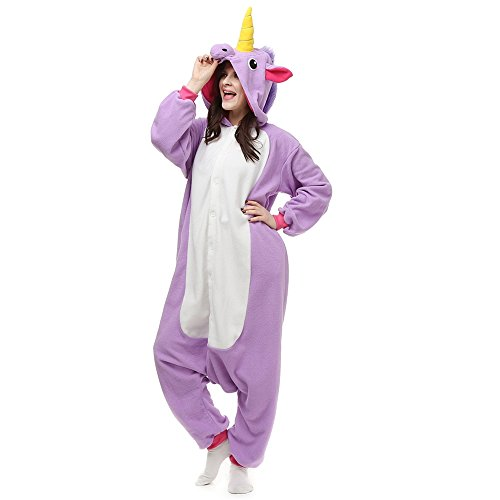 Grinch Halloween Costume Ideas (Seeshine Unicorn Adult Unisex Onesies Animal Siamese Pajamas HomeWear Cosplay Pajamas(Purple/XL))