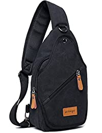 Aidonger Unisex Canvas Chest Bag Messenger Bag Sling Bag (Black)