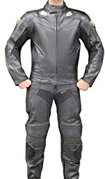 Perrini 2pc Motorcycle Racing Riding Leather Track Suit w/ Armor Black