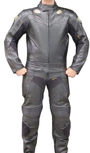 Perrini 2pc Motorcycle Racing Riding Leather Track Suit w/Armor -