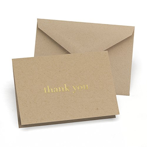 Hortense B. Hewitt 50 Count Kraft Natural and Thank You Cards, Gold