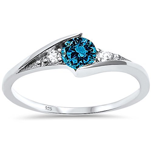 (Oxford Diamond Co Sterling Silver Round Blue Cubic Zirconia Solitaire Fashion Ring Sizes 6)