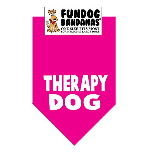 Image of Therapy Dog Bandana (One Size Fits Most for Medium to Large Dogs, Hot Pink)