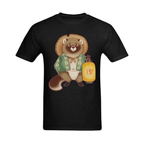 Whose Favor Mens Tanuki And Lanton Japanese Culture Painting Art Design T Shirt   Vintage Shirts Us Size Medium