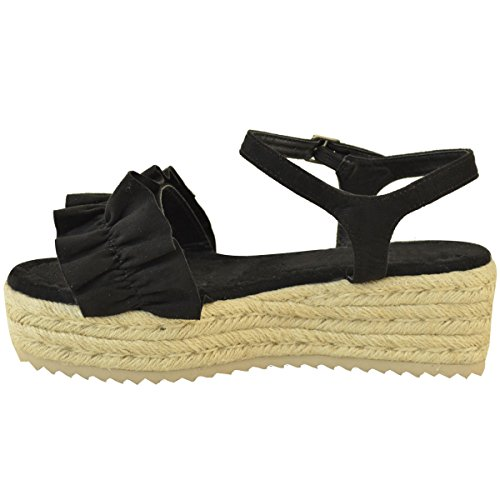Fashion Thirsty Heelberry® Womens Ladies Flatforms Wedge Sandals Frilly Summer Platforms Shoes Comfy Size Black Faux Suede hCeArZN