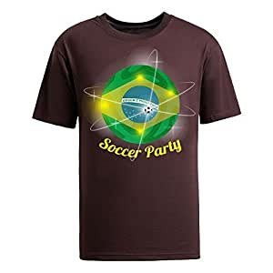 Brasil 2014 FIFA World Cup Theme Short Sleeve T-shirt,Football Background Mens Cotton shirts for Fans brown