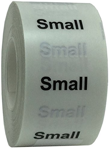 "InStockLabels Small Clothing Size Strip Labels 1.25 x 5"" 125 Adhesive Stickers, Clear with Black and White Ink"