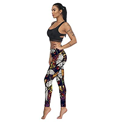 Fandim Fly Women's Printed Yoga Pants High Waist Tummy Control Workout Pants Leggings with Pocket
