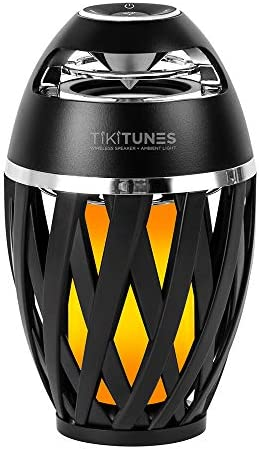 TikiTunes Portable Bluetooth 5.0 Indoor/Outdoor Wireless Speakers, LED Torch Atmospheric Lighting Effect, 5-Watt Audio USB Speakers, 2000 mAh Battery for iPhone/iPad/Android (Set of two)