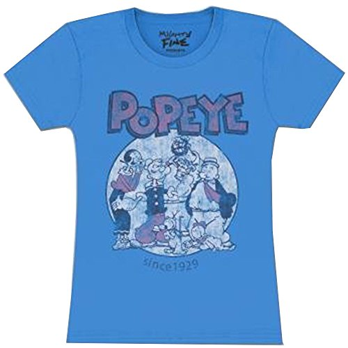 Mighty Fine Popeye 1929 Group Juniors T-Shirt Turquoise Blue (Small, Turquoise)