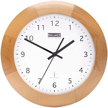 Funk Holz Wanduhr - Quarz - 32cm Designer Uhr rund Küche / Büro etc- braun