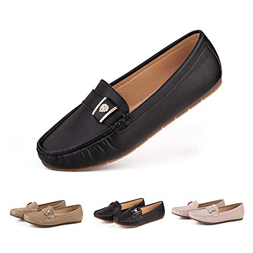 sorliva Women's Leather Penny Loafers Soft Casual Driving Flat Boats Shoes (7, Black)