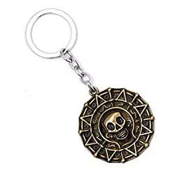 Pirates of The Caribbean Key Chain Aztec Gold Coins European and American Retro Jewelry