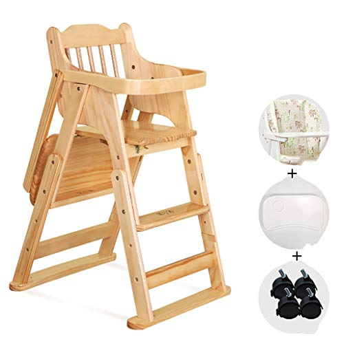 - CCBABYGJY Baby high Stool Child seat Baby Dining Chair Seat Solid Wood it can Move fold Telescopic Adjustable Height (Color : A)