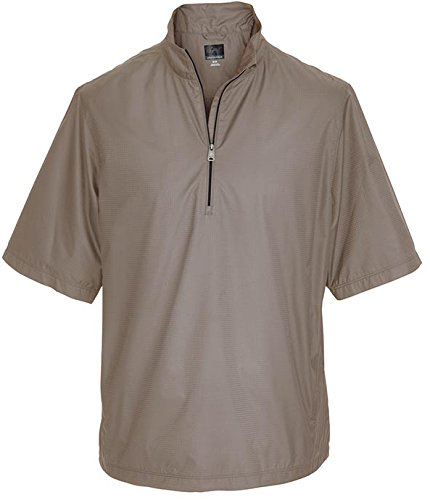 Greg Norman Collection Men's 1/4 Zip Performance Short Sleeve Jacket, Suede, (Suede Fully Lined Shirt Jacket)
