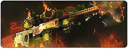KTWMZ Alfombrilla De Ratón Ordenador Gaming Grande 90X40Cm Pistola De Fuego - para Precisión Y Velocidad - para Ratón Y Teclado-con Base De Goma Antideslizante.