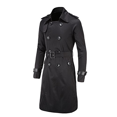 Elonglin Men's Trench Coat Long Double Button Down Jacket Military Trench Coat Slim Coat with Belt Black US M (Asian 2XL) Button Down Leather Coat