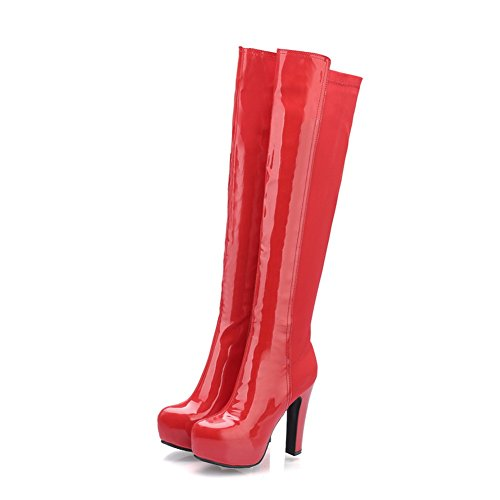 BalaMasa Girls Platform Chunky Heels Round Toe Patent Leather Boots Red CcoSFExej