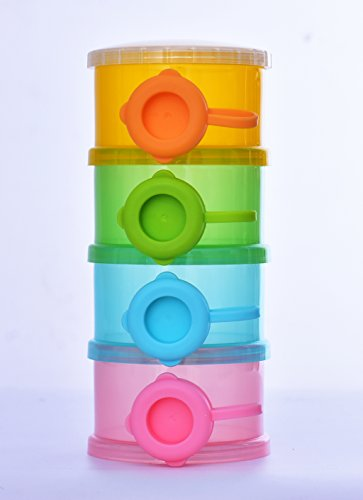 SKK Baby Formula Dispenser Container BPA Free Non-Spill Poratble Stackable Travel 3 Compartments
