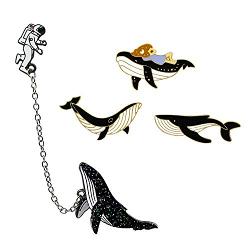 Cute Enamel Lapel Pins Sets Cartoon Animal Plant Fruits Foods Brooches Pin Badges for Clothing Bags Backpacks Jackets Hat DIY (Whale astronaut and whale girl set of 4)