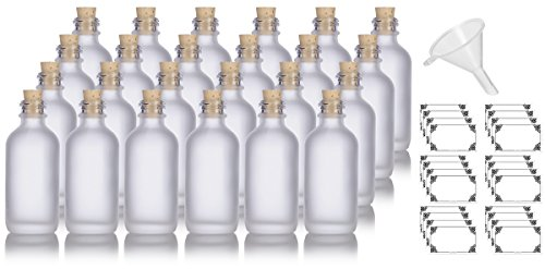 2 oz Frosted Clear Glass Boston Round Cork Stopper Bottle (24 pack) + Funnel and Labels for cosmetics, serums, essential oils, aromatherapy, food grade, bpa ()