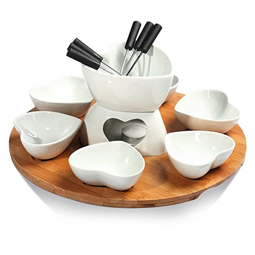 Zen Kitchen 8-Pieces Chocolate Fondue Set with Bamboo Wood Tray, 6 Fondue Forks and 1 Tea Light, Glazed Ceramic Surface, Great for Chocolate Fondue, Cheese Fondue or Tapas Fondue (Heart Set)