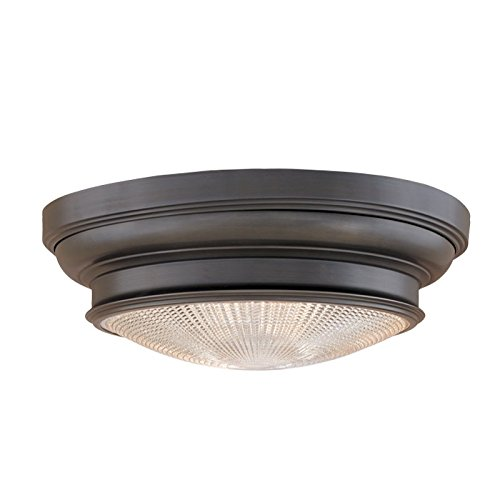 Woodstock 1-Light Flush Mount - Old Bronze Finish with Clear Prismatic Glass Shade - Hudson Valley Lighting Bronze Ceiling Fan