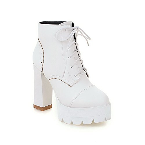 A&N Ladies Lace-Up Solid Round Toe Platform Imitated Leather Boots White wVmbILWl
