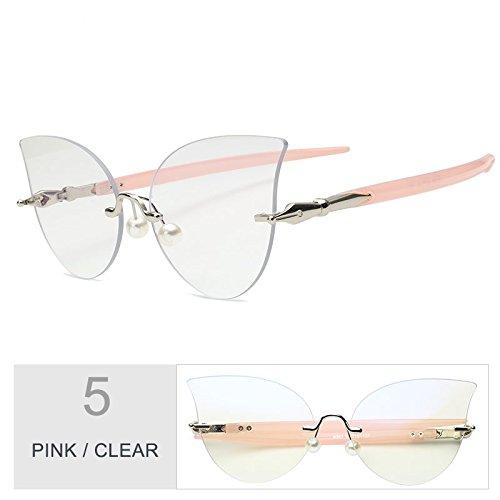 De Mujeres Reborde Negro Perla De Clear Ojo Gafas Gato Sin De Pink Decoración Gris Gafas TIANLIANG04 Sol 5WqS1Bwgxg