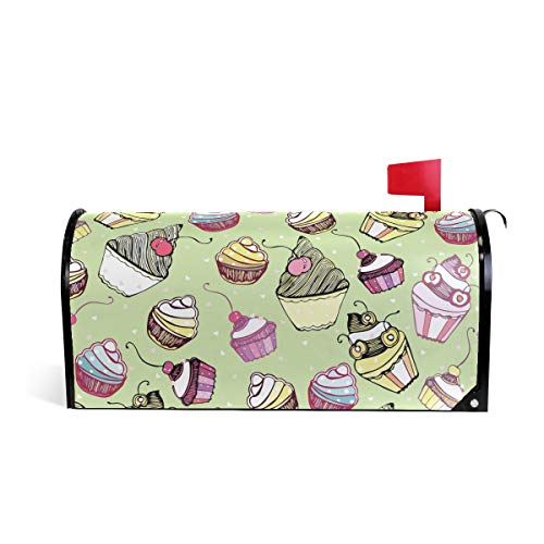 Senuu Polka Dot Cake Magnetic Mailbox Cover Mailwraps for Medium Large Post-Mount Mail Box
