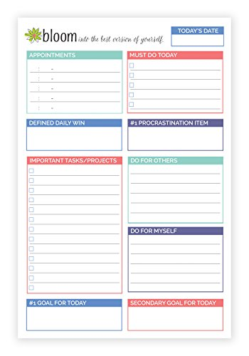 bloom daily planners Double Sided Daily Planning System Tear Off To Do Pad - Teal - 6