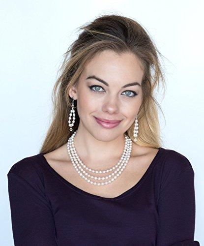 Swarovski Triple Strand Necklace - Freshwater Pearl and Swarovski Crystal Triple Strand Necklace and Earrings Set by Dansker Designs Jewelry